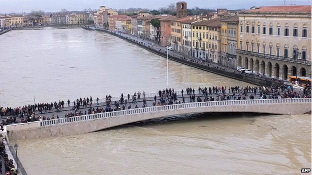 Hundreds of people were forced to evacuate their homes in the Italian city of Pisa as the Arno River threatened to burst its banks