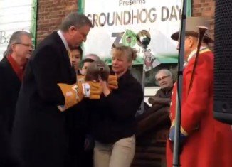 New York City Mayor Bill de Blasio at his first Groundhog Day ceremony on Staten Island
