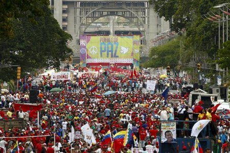 Nicolas Maduro addressed thousands of his supporters in Bolivar Avenue