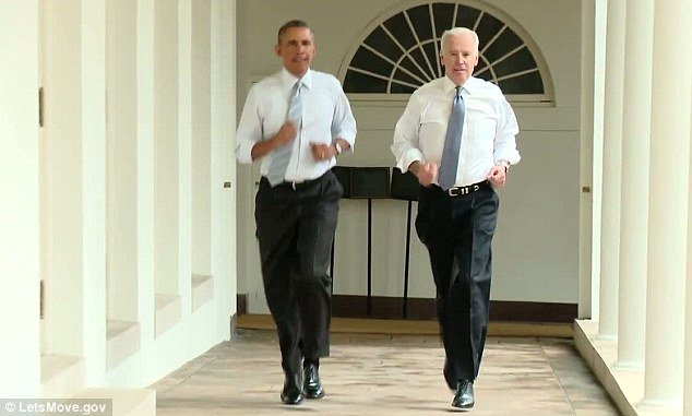 President Barack Obama and Vice-President Joe Biden are taking part in First Lady Michelle Obama's health campaign Let's Move by making a film while jogging around the White House