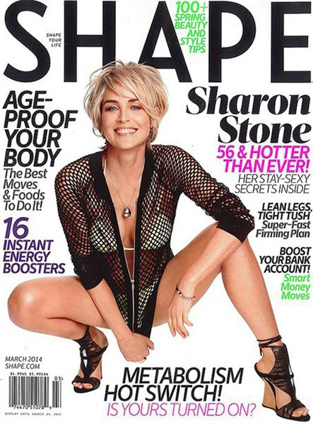 Sharon Stone appears on the cover of Shape magazines March issue photo