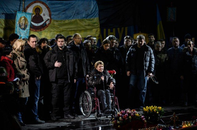 Yulia Tymoshenko has urged opposition supporters in Kiev's Independence Square to continue their protests