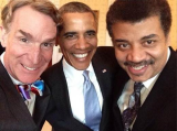 Astrophysicist Neil deGrasse Tyson, Bill Nye the Science Guy and President Barack Obama walk into the White House's Blue Room and teamed up for a selfie
