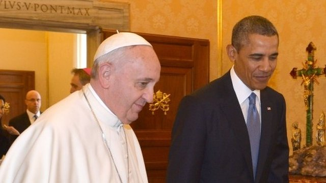Barack Obama has met Pope Francis for the first time during his European tour
