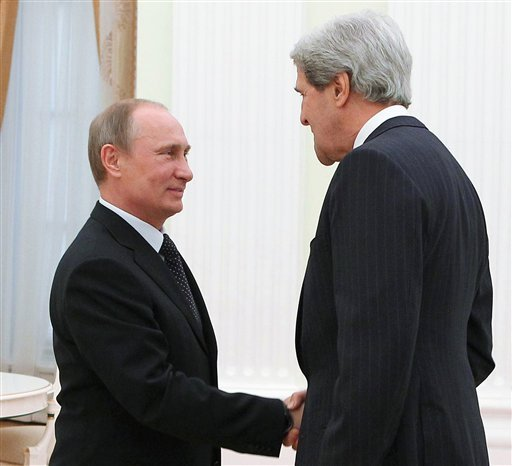 John Kerry has declined an offer of talks with Vladimir Putin until Moscow engages with US proposals to tackle the crisis in Ukraine