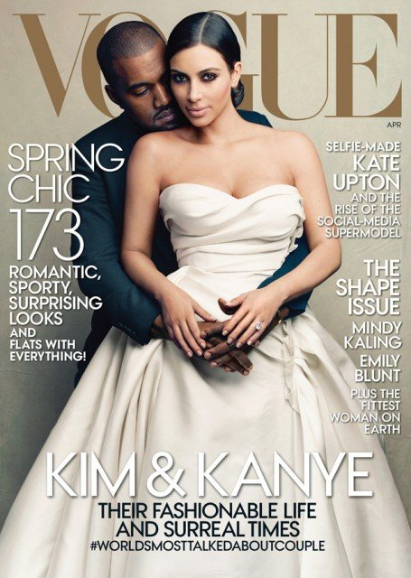 Kim Kardashian and her fiancé Kanye West will feature Vogue's cover for the magazine's April issue