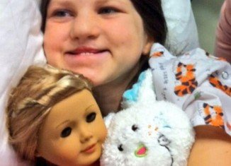 Mia Robertson was born with a facial cleft, and had her first surgery