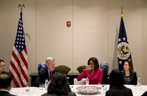 Michelle Obama hosted an education roundtable in China