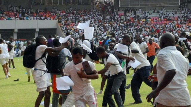 Nigeria stampede among jobseekers taking a recruitment test in the national stadium in Abuja