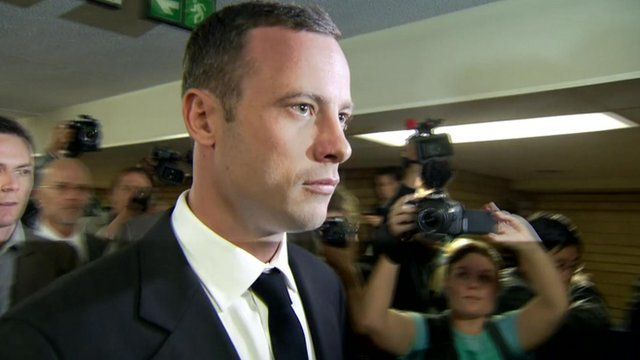 Oscar Pistorius has arrived in court in South Africa at the start of his trial for the murder of his girlfriend Reeva Steenkamp