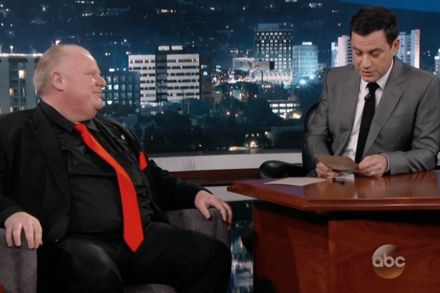 Rob Ford appeared Monday night on Jimmy Kimmel Live