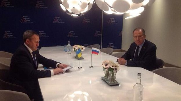 Russian Foreign Minister Sergei Lavrov has held talks with his Ukrainian counterpart, Andriy Deshchytsia, for the first time since Crimea annexation