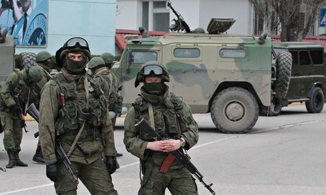 Russian soldiers at Sevastopol naval base in Ukraine