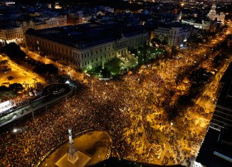 Spanish demonstrators were protesting over issues including unemployment, poverty and official corruption