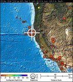 The earthquake epicenter was 48 miles west-northwest of Ferndale and 50 miles west of Eureka at a depth of 4.3 miles