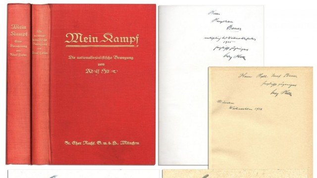 The signed two-volume set of Adolf Hitler's Mein Kampf has sold for $64,850 at Los Angeles auction