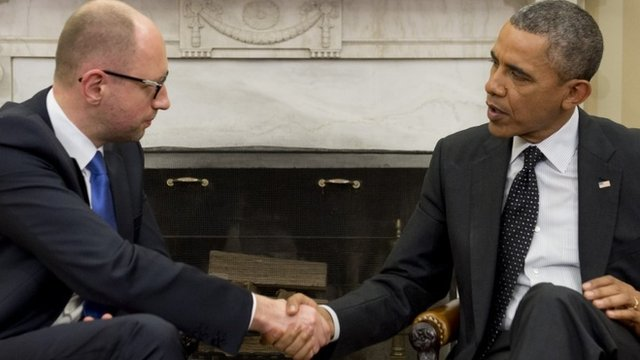 Ukraine's interim PM Arseniy Yatsenyuk met President Barack Obama at the White House
