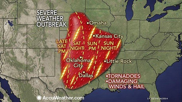 A multiple-day severe weather outbreak will begin this weekend over the South Central states and will include the potential for nighttime tornadoes