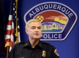 Albuquerque Police Chief Gorden Eden Jr. spoke to reporters after more than 300 people took to the streets Sunday, calling for him and other city officials to resign