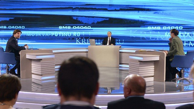 "In his annual live television phone-in, Vladimir Putin warned the Ukrainian authorities of ""the abyss they're heading into"" and urged dialogue"