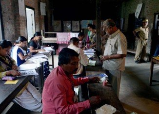 Indians are voting on the first big day of the general election pitting the ruling Congress party against the main opposition BJP