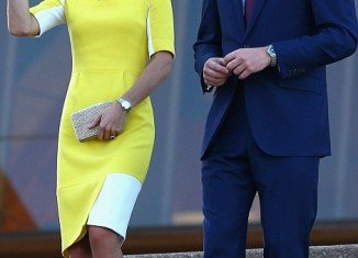 Kate Middleton opted for a yellow and white blocked Ryedale dress from the Roksanda Ilincic spring 2014 collection