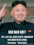 M&M Hair Academy has been visited by North Korean officials to question why it had used their leader Kim Jong-un's picture in a poster offering haircuts