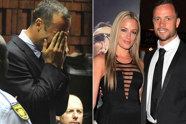 Oscar Pistorius became distraught as he was shown a photo of his dead girlfriend Reeva Steenkamp by the prosecution at his murder trial in Pretoria photo