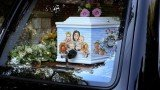 Peaches Geldof's blue coffin was adorned with a painted picture of herself, her husband, their two young sons and pet dogs