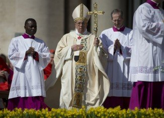 Pope Francis led his second Easter Mass in front of tens of thousands of people gathered in St. Peter's Square