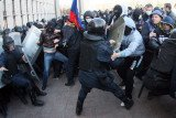 Pro-Russian protesters clashed with police, waved Russian flags and called for a referendum on independence from Ukraine