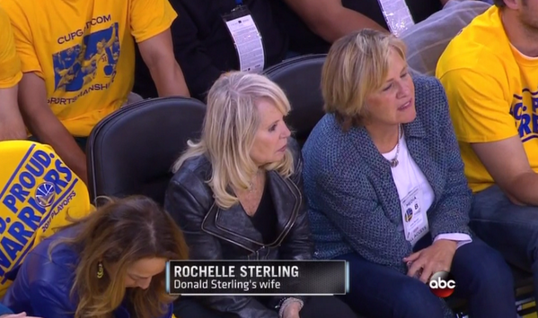 Rochelle Sterling, wife of Los Angeles Clippers owner Donald Sterling, attended the team's Game 4 match against Golden State on Sunday