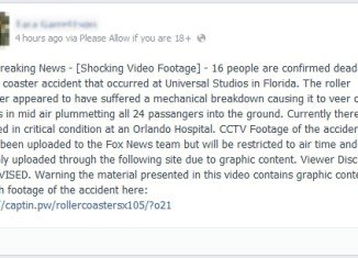 Scam postings promote CCTV video footage of a roller coaster accident at Universal Studios in Florida