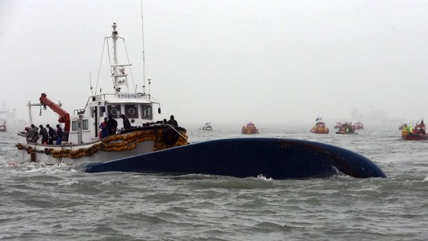 Sewol ferry capsized during a journey from Incheon in the north west to the southern island of Jeju photo