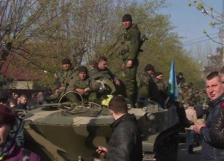Six Ukrainian armored vehicles have been seized by pro-Russian militants in eastern town of Kramatorsk