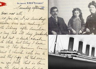 The letter was written by survivors Esther Hart and her 7-year-old daughter Eva eight hours before the Titanic hit an iceberg and sank in 1912