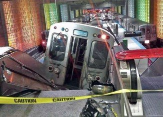 Thirty-two people were hurt when the Chicago Transit Authority train jumped its tracks at O'Hare International Airport and hurtled up an escalator