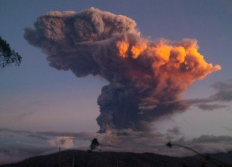 Tungurahua volcano created the huge cloud on Friday in an eruption that lasted just five minutes