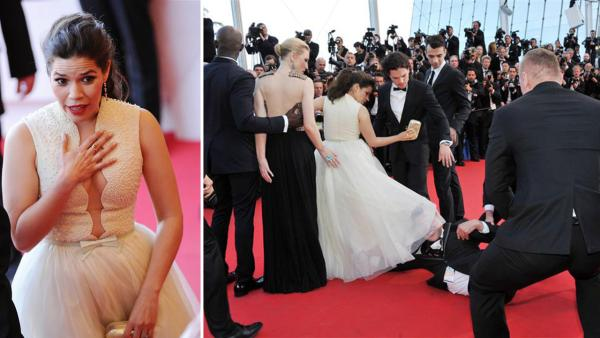 America Ferrera got a bizarre moment at the Cannes Film Festival when a man tried to crawl under her Georges Hobeika Couture dress as she walked the red carpet