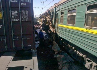 Four people died after a freight train hit a passenger train near Moscow