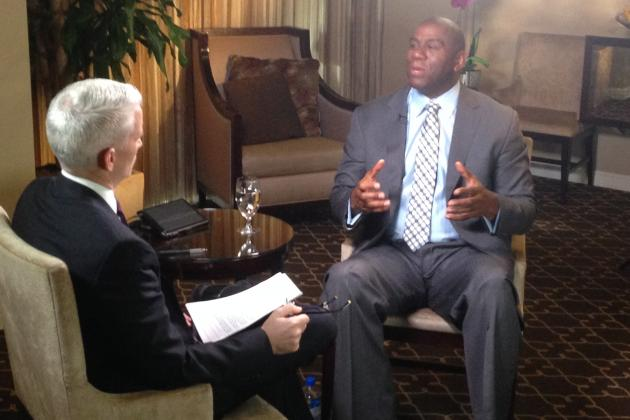 Magic Johnson rejected Donald Sterling's remarks a day earlier that the HIV-positive ex-player had done nothing to help others