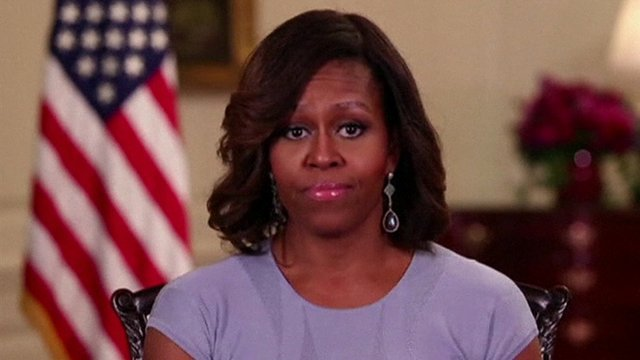 Michelle Obama was speaking instead of her husband in the weekly presidential address