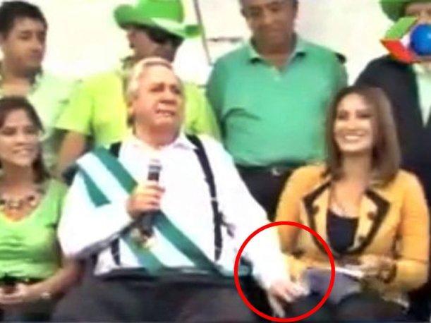 Santa Cruz Mayor Percy Fernandez is in trouble for groping journalist Mercedes Guzman at a public event