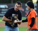 Tara the Hero Cat threw out the ceremonial first pitch at Bakersfield Blaze baseball game