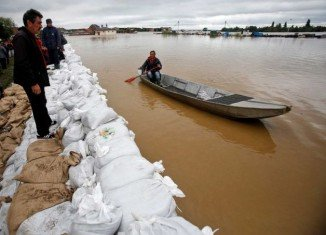 The River Sava has burst its banks in many areas and water levels are expected to peak