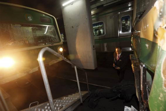 The accident happened after one train ran into the back of another that had stopped at the Sangwangsimni Station in east Seoul