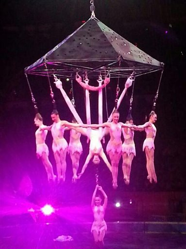 The collapse occurred during an act in which the eight performers hanged from their hair like a human chandelier
