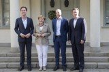 Angela Merkel and David Cameron met Sweden's Fredrik Reinfeldt and Dutch PM Mark Rutte at Harpsund mini-summit