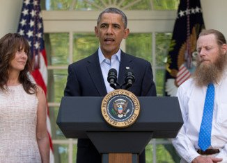Barack Obama was joined at the White House by Sgt. Bowe Bergdahl's parents, Robert and Jani
