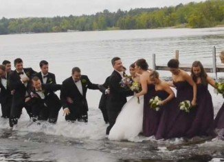 Dan and Jackie Anderson were posing for pictures with their groomsmen and bridesmaids on their wedding day when the jetty they were standing on collapsed